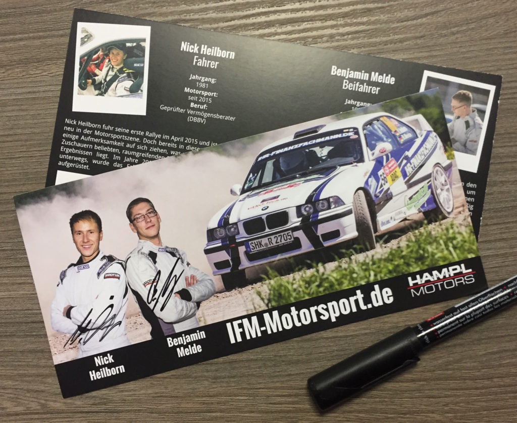 Autogrammkarte IFM-MOTORSPORT.de Ihr-Finanzfachmann Nick Heilborn Benjamin Melde BMW M3 Rallye