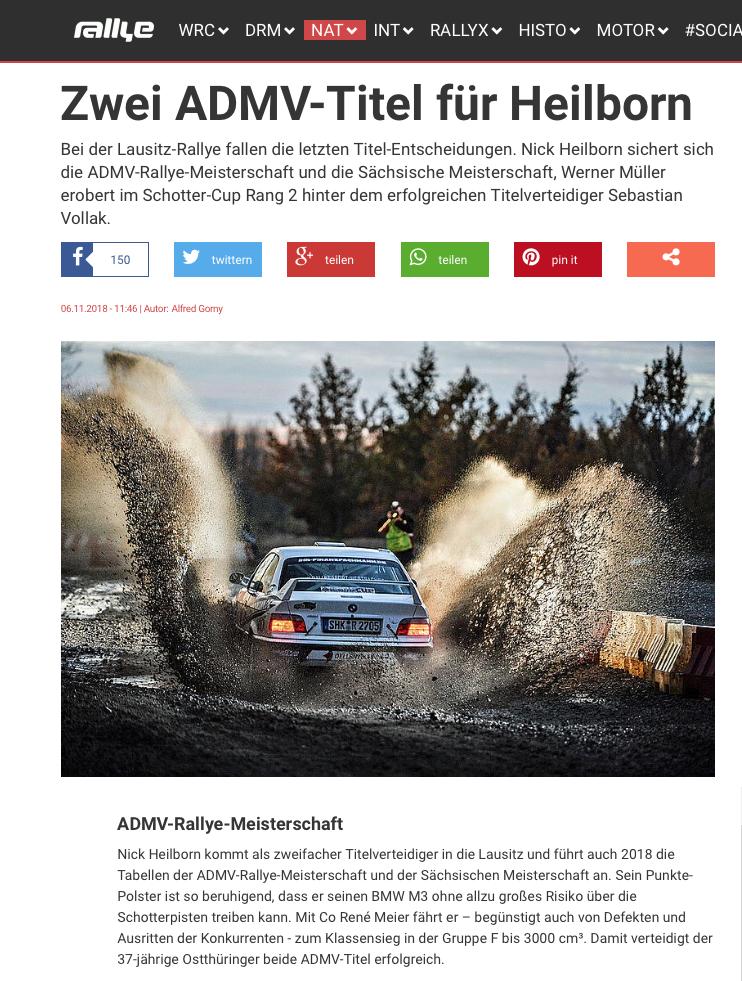Rallye-Magazin 6.11.2018 Zwei ADMV-Titel für Heilborn