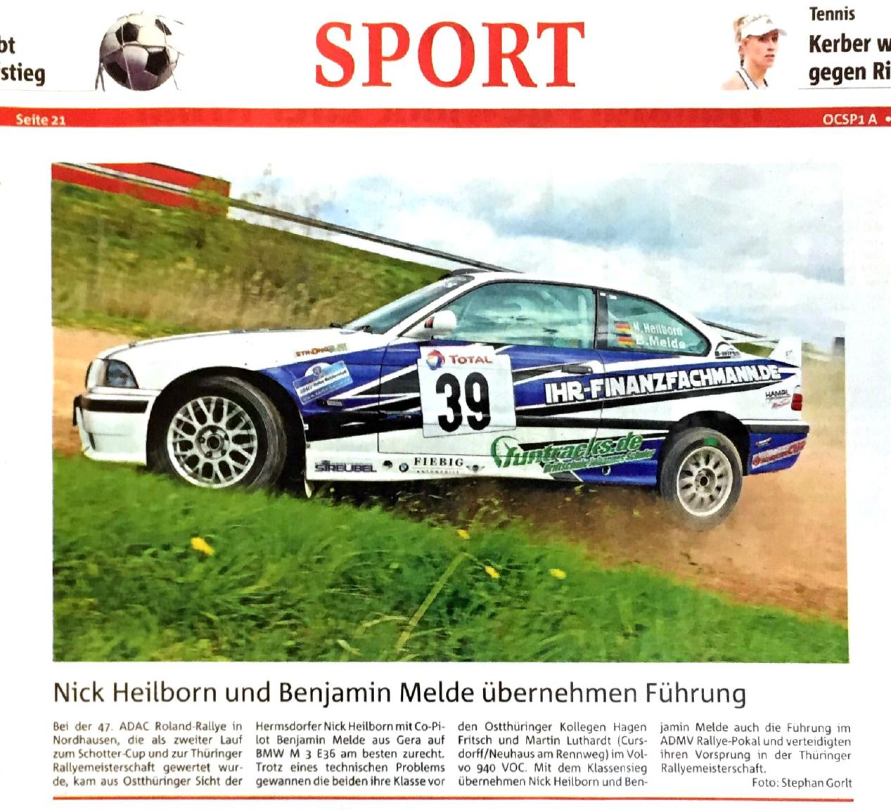 OTZ 2017-04-26 Tabellenspitze nach der Roland-Rallye, Nordhausen