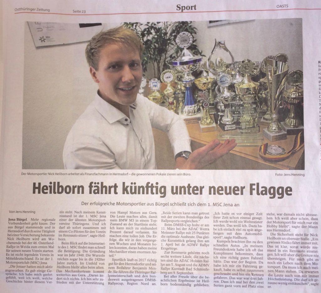 Ostthüringer Zeitung vom 14.06.2017 über den Wechsel zum 1.MSC Jena e.V.