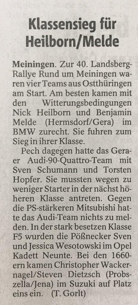 Tagespresse vom 20.07.2017 zum Ergebnis der Landsberg-Rallye